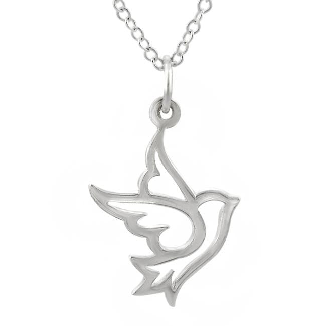 Sterling Silver Dove Necklace- Peace Freedom - Pranajewelry