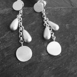 Raindrops Sunburst Earrings - Brushed Sterling Silver - Simple Beauty - Pranajewelry - 1
