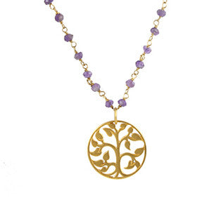 Tree of Life Amethyst Necklace - Grounding Nurturing Wisdom - Pranajewelry