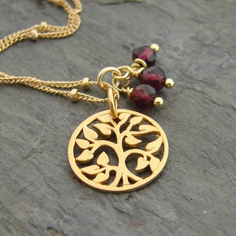Tree of Life Necklace |  Garnet Gold Necklace  | Family Love | January Birthstone - Pranajewelry - 1