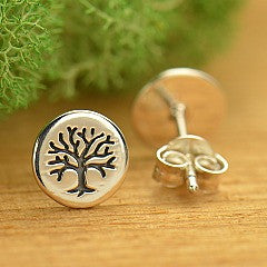 Tree of Life Post Sterling Silver Earrings