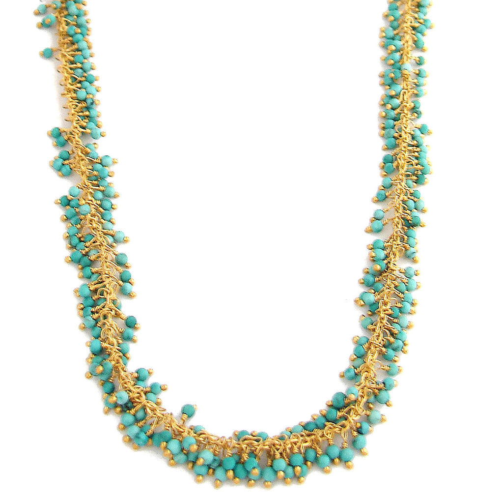 Turquoise Fringe Necklace - Good Fortune Eternal Friendship - Pranajewelry - 1