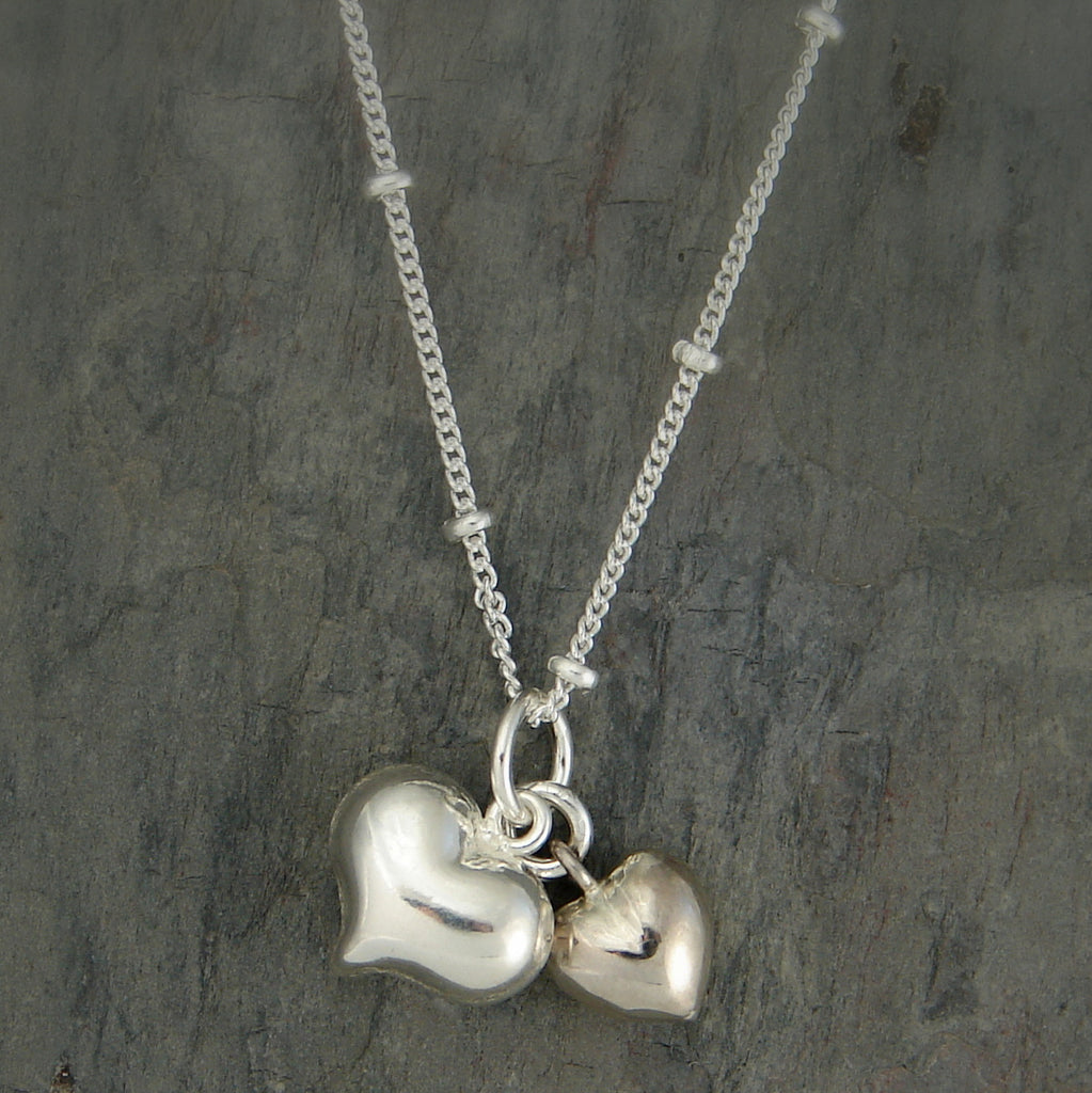 Heart Sterling Silver Necklace - Two Hearts that Beat as One - Pranajewelry