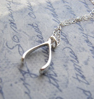 Silver Wishbone Necklace - A Dream is a Wish from the Heart - Pranajewelry