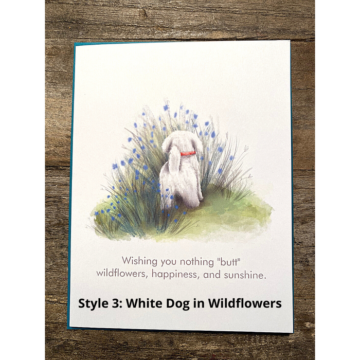 Style #3: White Pup in Wildflowers