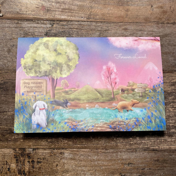 Dog Heaven Playground Sympathy Card - Folded