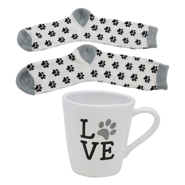 Love Paw Print Mug & Sock Set