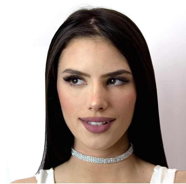 13332 3 Row Stretch Clear Rhinestone Choker