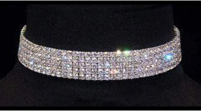 15960 5 Row Stretch Clear Rhinestone Choker