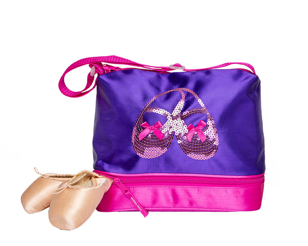3412 Satin & Sequins Gear Tote Purple