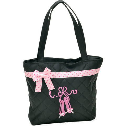 44014-BLKTOTE Ballet Shoes Tote