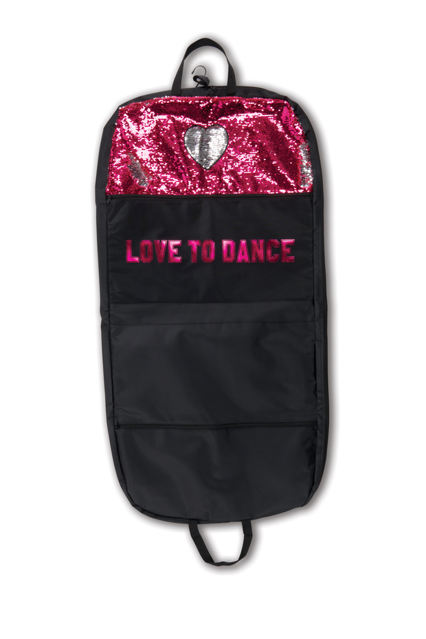 B20529 Sequin Heart Garment Bag