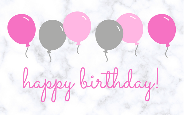 Gift Card- Birthday Pink/Grey Balloons