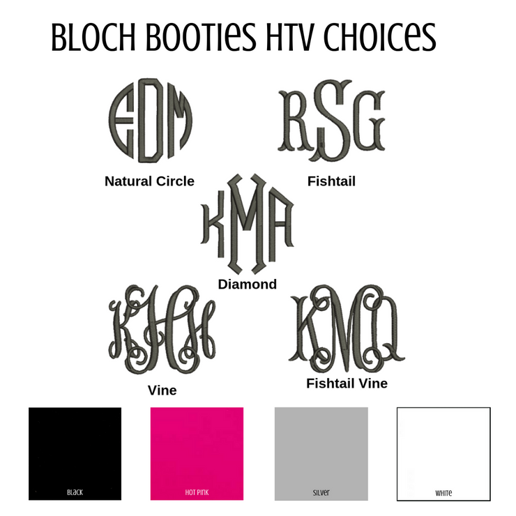 Bloch Booties Heat Transfer Vinyl Fonts and Colors
