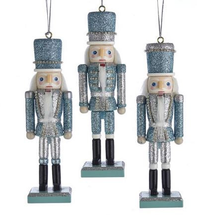 C4849 Silver and Blue Glitter Nutcracker Ornament