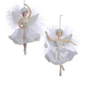C7138 White & Silver Ballerina Ornament