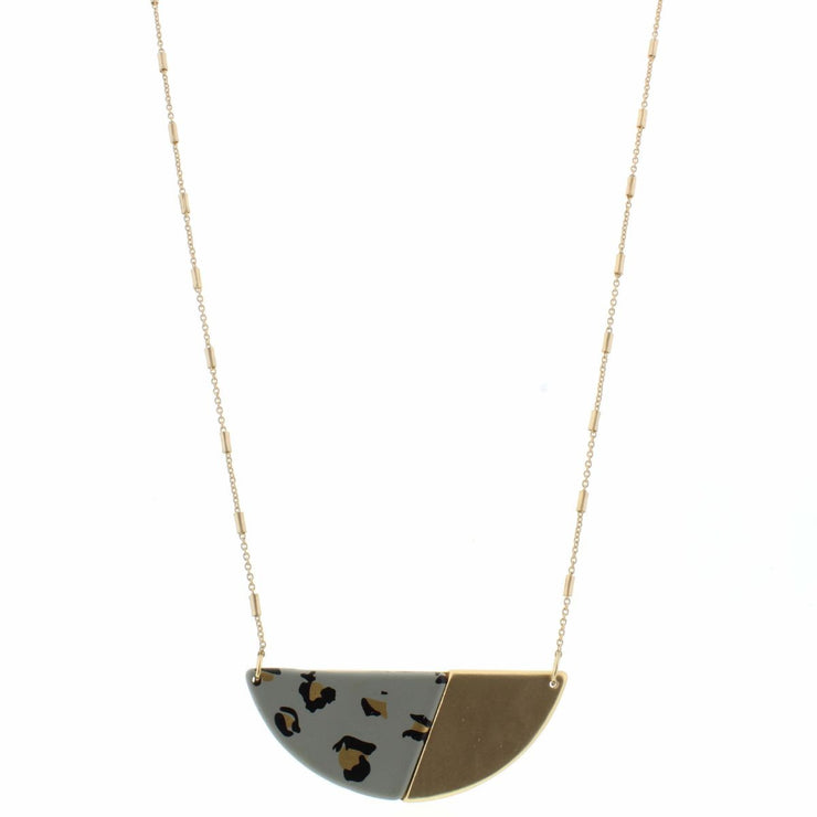"30"" Grey Leopard Semi Circle Pendant Necklace"