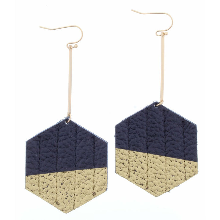 Gold Rod Black Gold Hexagon Earring