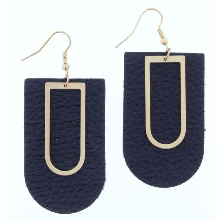 Gold Arch with Black Leather Earring