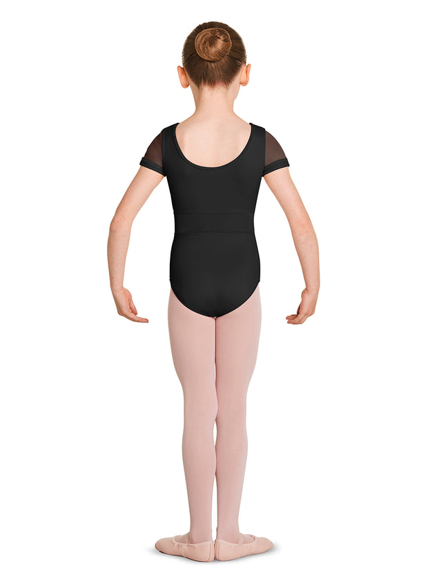 M1524C Child Velvet Trim Cap Sleeve Leotard