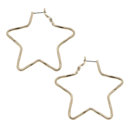 20082E Star Shaped Hoop Earrings
