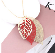 Gold-Tone Multi Tiered Leaf Necklace