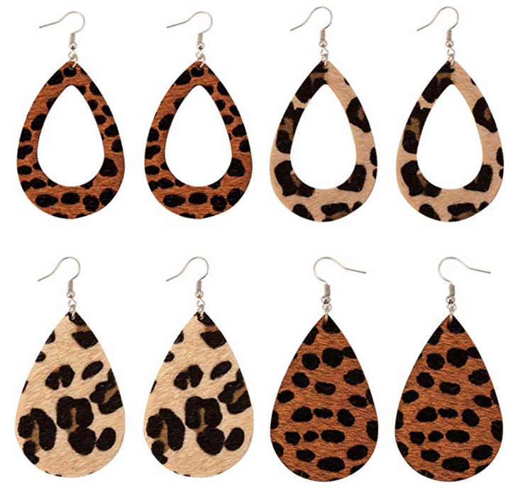 Animal Print Teardrop Earrings