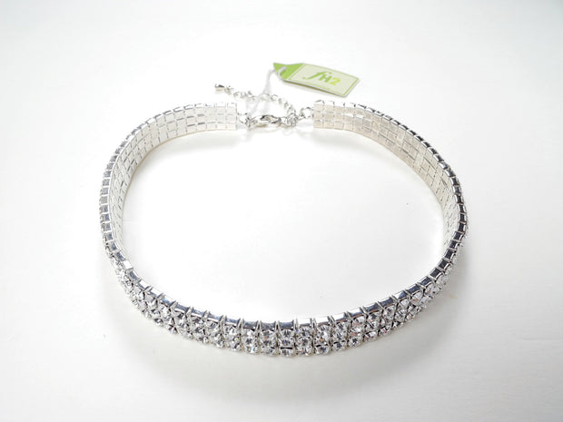 AZ0005 3 Row Stretch Clear Rhinestone Choker