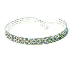 AZ0026 3 Row Stretch AB Rhinestone Choker