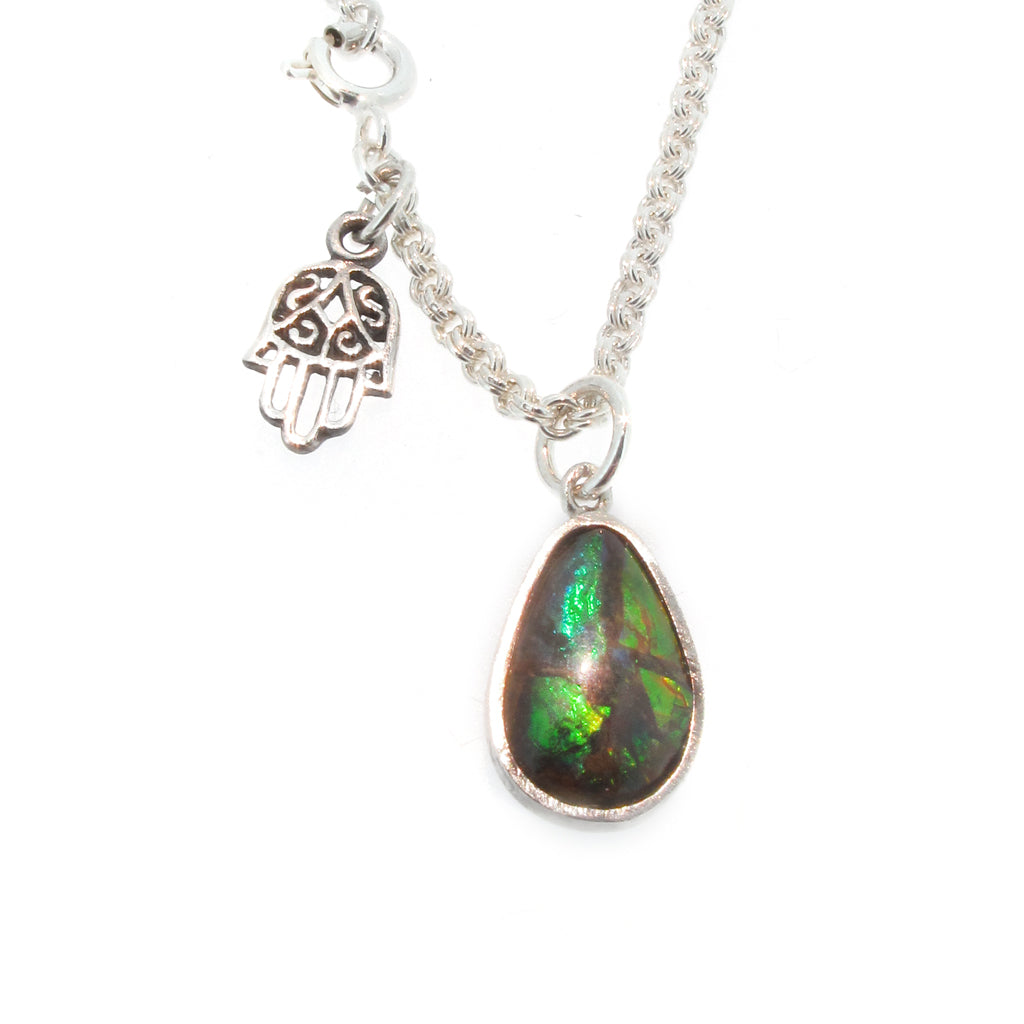 on blue hamsa silver products with sterling opel hand chain detail pendant green opal