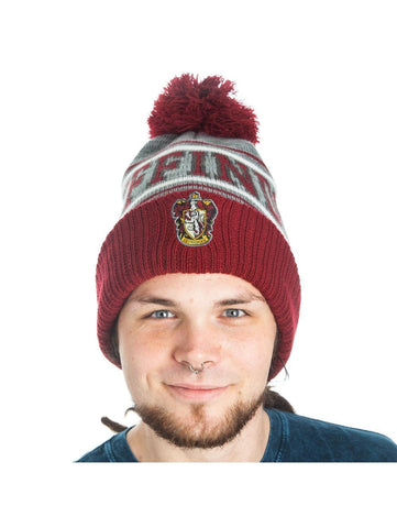 Harry Potter - Gryffindor - Embroidered Pom Beanie Burgundy Grey