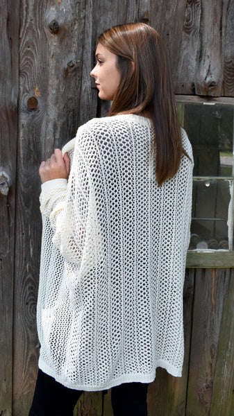 Ivory Cardigan- knit ivory oversized lightweight sweater with pockets
