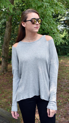 Cut It Out Top- heather grey thermal knit top with cold shoulder cutouts