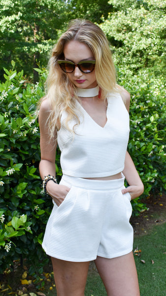 Prep Shorts- white high waisted shorts with pockets, optional matching two-piece crop top