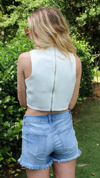 Prep Crop- white crop top with v-neck, optional matching two-piece shorts