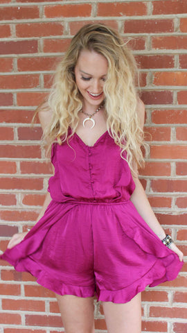 Satin Romper- magenta satin romper with v-neck and ruffles