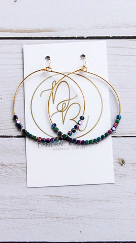 gold beaded mermaid hoops handmade jewelry