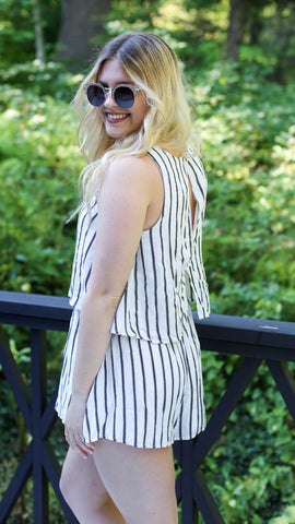 Upstate Romper- black and white pinstripes with lace up neckline