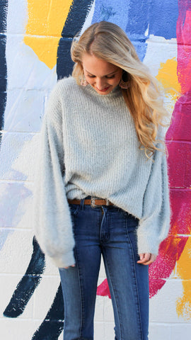 Bubble Sleeve Sweater - Grey