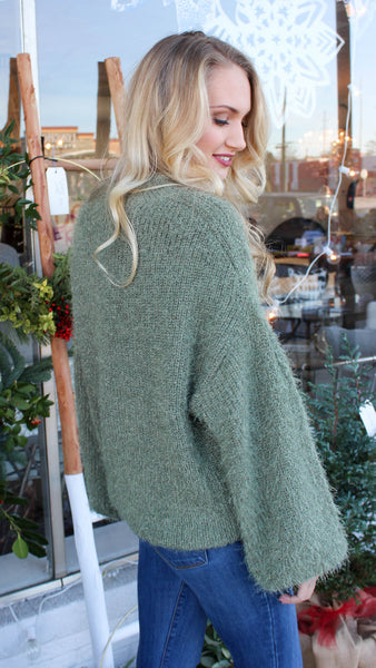 Bubble Sleeve Sweater - Olive
