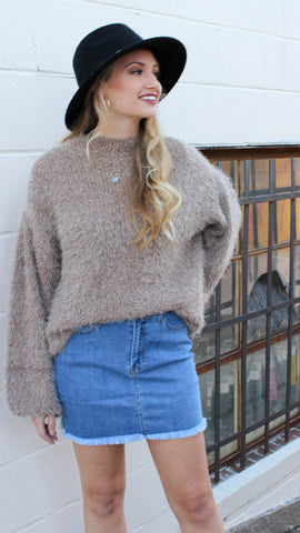 Bubble Sleeve Sweater - Caramel
