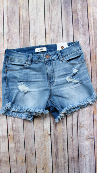 Denim Cut Off Shorts- high waisted cutoff ripped jean shorts with frayed edges