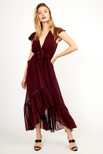 "THE ""SYDNEY"" RED PLAID MAXI DRESS"