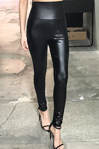 MATTE BLACK FAUX LEATHER LEGGINGS