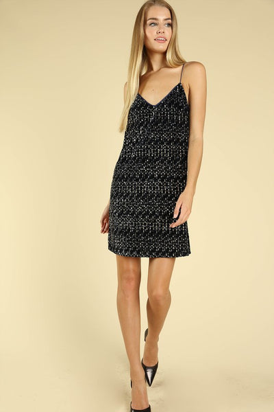 "THE ""STEPHANIE"" NAVY SEQUIN DRESS"