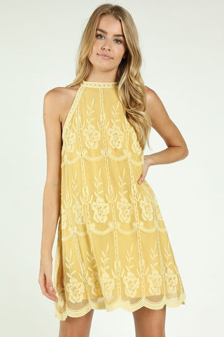 "THE ""PRINCESS BUTTERCUP"" LACE EMBROIDERED HALTER DRESS"