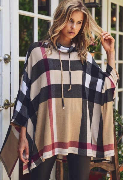 "THE ""AUTUMN"" PLAID PONCHO"