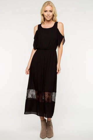 COLD SHOULDER MIDI MAXI DRESS WITH LACE
