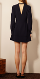PRETTY FIT AND FLARE DRESS IN NAVY