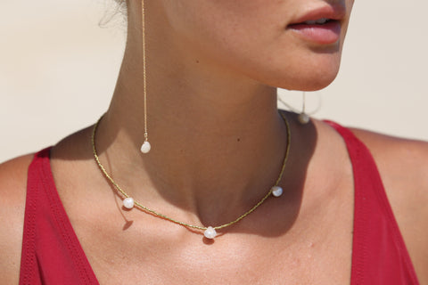 BRASS BEAD + SILVERITE CHOKER NECKLACE